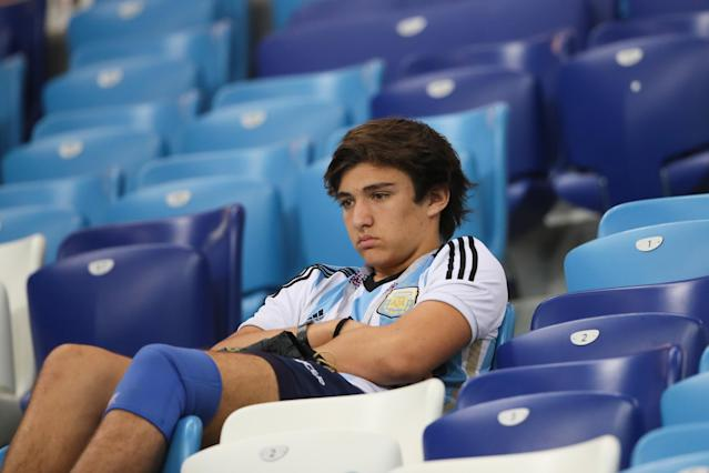 Dejection: An Argentinian fan considers his country's plight in the stands in Nizhny Novgorod. (Getty)