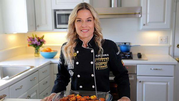 PHOTO: Cat Cora makes a Thanksgiving dish of caramelized sweet potatoes in Santa Barbara, Nov. 4, 2019. (Olivia Smith/ABC News)