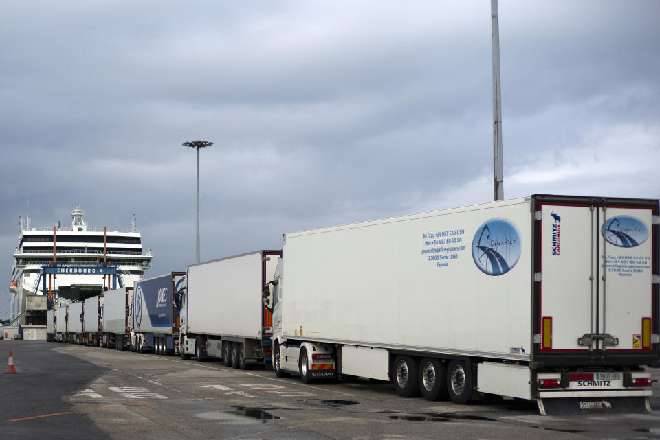 CHERBOURG, FRANCE - FEBRUARY 04: Hauliers line up as they wait to board a ferry on February 04, 2021 in Cherbourg, France. Haulier traffic is expected to see some 9,000 trucks by the end of January compared to 3,000 in January 2020. All companies (Irish Ferries, Stena Line and Brittany Ferries) have increased their supply to and from the port of Cherbourg. (Photo by Aurelien Meunier/Getty Images)
