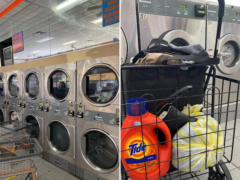Side by side photos of a laundromat and laundry basket