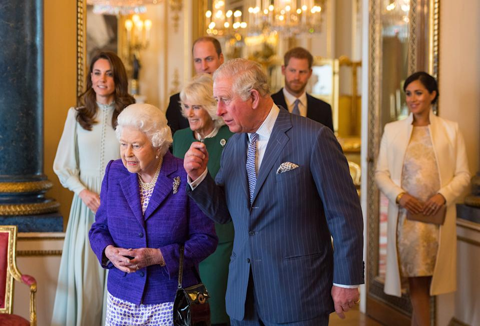 File photo dated 05/03/19 of Queen Elizabeth II and the Prince of Wales, followed by the Duke and Duchess of Cambridge, the Duchess of Cornwall, and the Duke and Duchess of Sussex at a reception at Buckingham Palace in London to mark the fiftieth anniversary of the investiture of the Prince of Wales. The Prince of Wales ??? the longest-serving holder of the title in history ??? is about to celebrate the 50th anniversary of his investiture.
