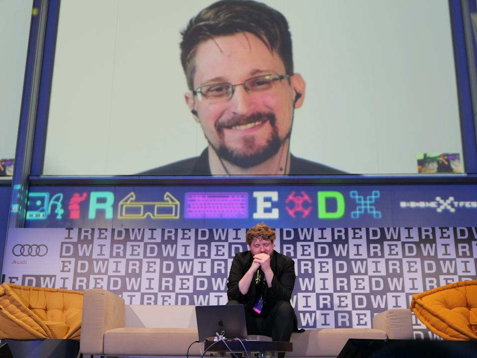 Snowden appears via connection from Russia during the Wired Next Fest 2019 in Milan, Italy. (Photo: Rosdiana Ciaravolo/Getty Images)
