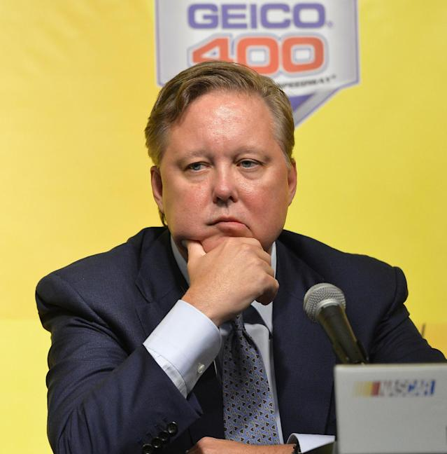 NASCAR Chairman and CEO Brian France listens to questions during a news conference at Chicagoland Speedway in Joliet, Ill., Friday, Sept. 13, 2013. NASCAR added Jeff Gordon to the Chase for the Sprint Cup championship field Friday, a stunning and unprecedented step in the fallout from at least two attempts to manipulate the results at the season-ending race at Richmond last weekend. (AP Photo/Nam Y. Huh)