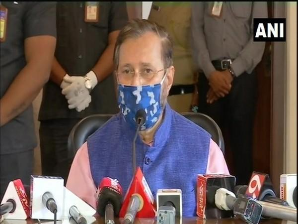 Union Minister Prakash Javadekar speaking at a press conference in Pune on Saturday. Photo/ANI