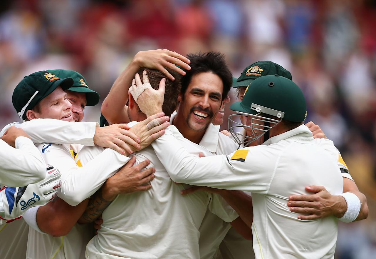 ADELAIDE, AUSTRALIA - DECEMBER 08:  Mitchell Johnson of Australia celebrates celebrates after taking the wicket of Alastair Cook of England during day four of the Second Ashes Test Match between Australia and England at Adelaide Oval on December 8, 2013 in Adelaide, Australia.  (Photo by Ryan Pierse/Getty Images)