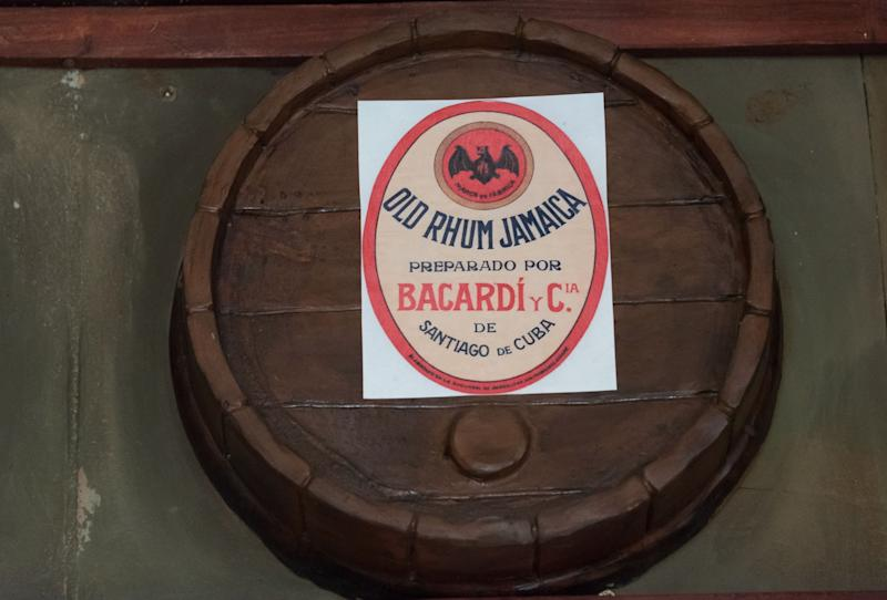 Old Rum Jamaica by Bacardi and Cia, label in old oak barrel. (Photo: Roberto Machado Noa/LightRocket via Getty Images)