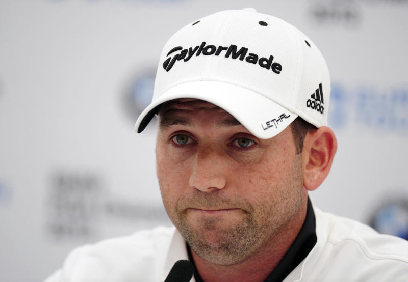 "Spain's Sergio Garcia at a Press Conference during the PRO/AM tournament at the Wentworth Club, Surrey, England, Wednesday May 22, 2013. Tiger Woods says the ""fried chicken"" comment from Sergio Garcia was hurtful and inappropriate. Two weeks after they verbally sparred at The Players Championship, Woods say it's time to move on. Garcia was at a European Tour awards dinner Tuesday night when he was jokingly asked if he would have Woods over for dinner during the U.S. Open. The Spaniard replied, ""We'll have him round every night. We will serve fried chicken."" (AP Photo/Adam Davy/PA ) UNITED KINGDOM OUT PHOTOGRAPH"