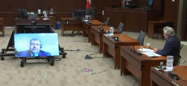 Laurentian University president Robert Haché spoke virtually Tuesday to the House of Commons standing committee on the status of women. He was questioned by MPs about the Sudbury, Ont., school's financial situation, and its staff and program cuts. (Parliament of Canada - image credit)