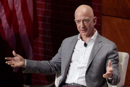 Jeff Bezos, Chairman and CEO of Amazon, speaks at the George W. Bush Presidential Center's Forum on Leadership in Dallas, Texas, U.S., April 20, 2018. Picture taken on April 20, 2018.  REUTERS/Rex Curry