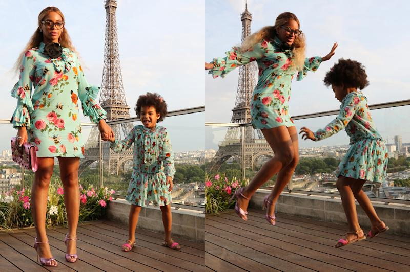 Beyonce and Blue Ivy jumping for joy in Paris, France. (Photo: beyonce.com)
