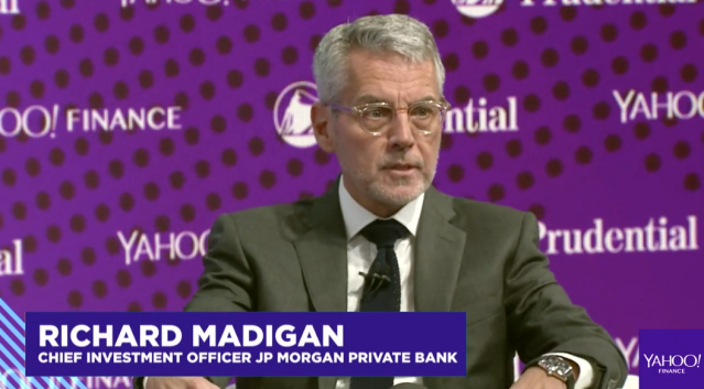 "Richard Madigan, who oversees over $1 trillion at JP Morgan Private Bank, says that ""nothing is cheap"" in markets right now. (Source: Yahoo Finance)"