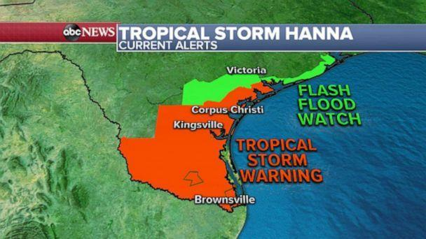 PHOTO: The center of Hanna should be passing into Mexico right around this morning, however, Texans will still be contending with the wind and rain into this afternoon. (ABC News)