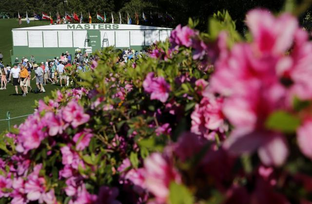 Azalea flowers in bloom during practice for the 2018 Masters golf tournament at Augusta National Golf Club in Augusta, Georgia, U.S. April 2, 2018. REUTERS/Jonathan Ernst
