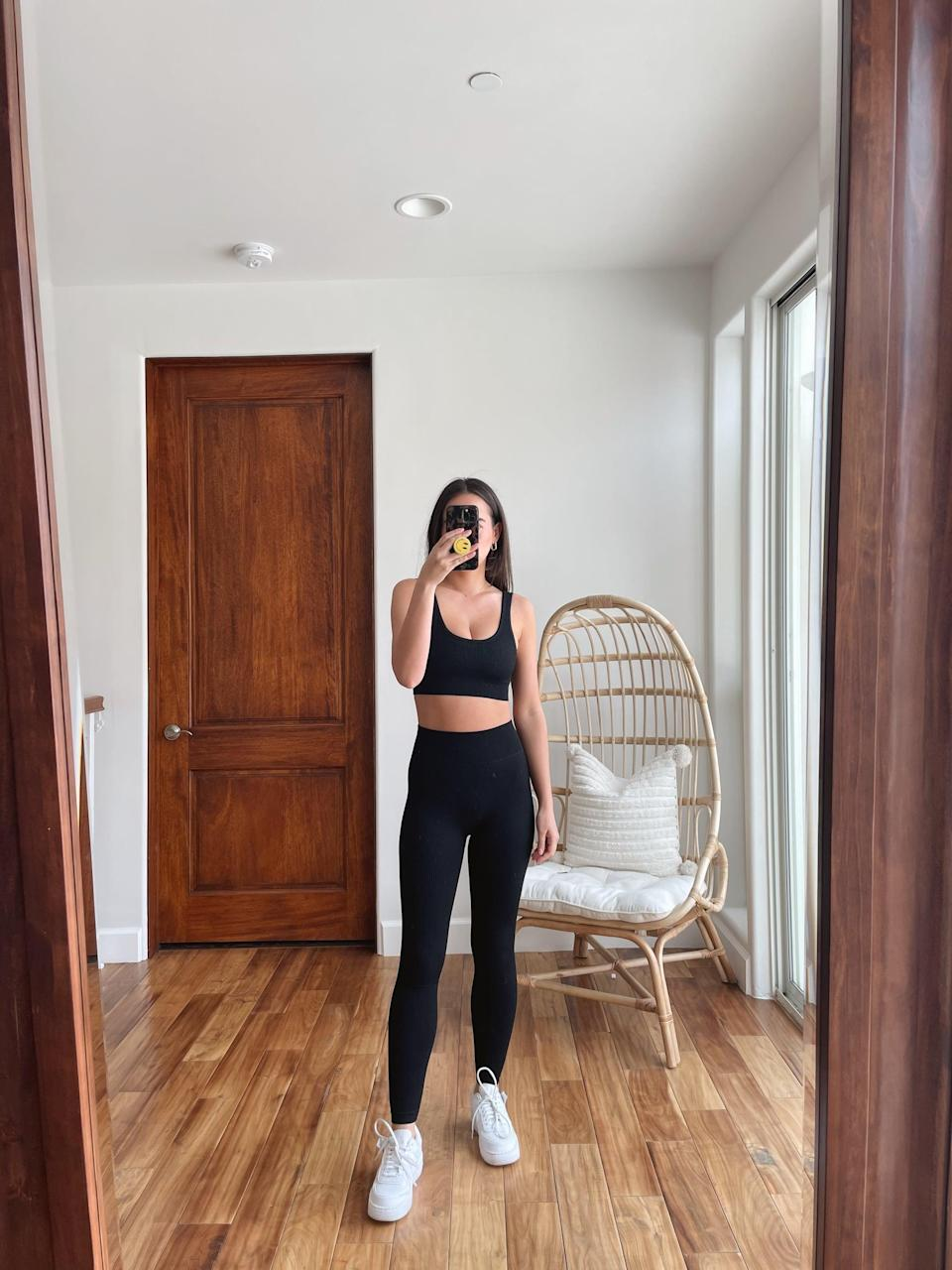 <p>I was so excited when I first tried on this black <span>Beaufident Women's Workout Set</span> ($27), because I realized it's an exact dupe for a workout set I have that cost me over $200. This set is just as amazing, and it's much more affordable. </p>