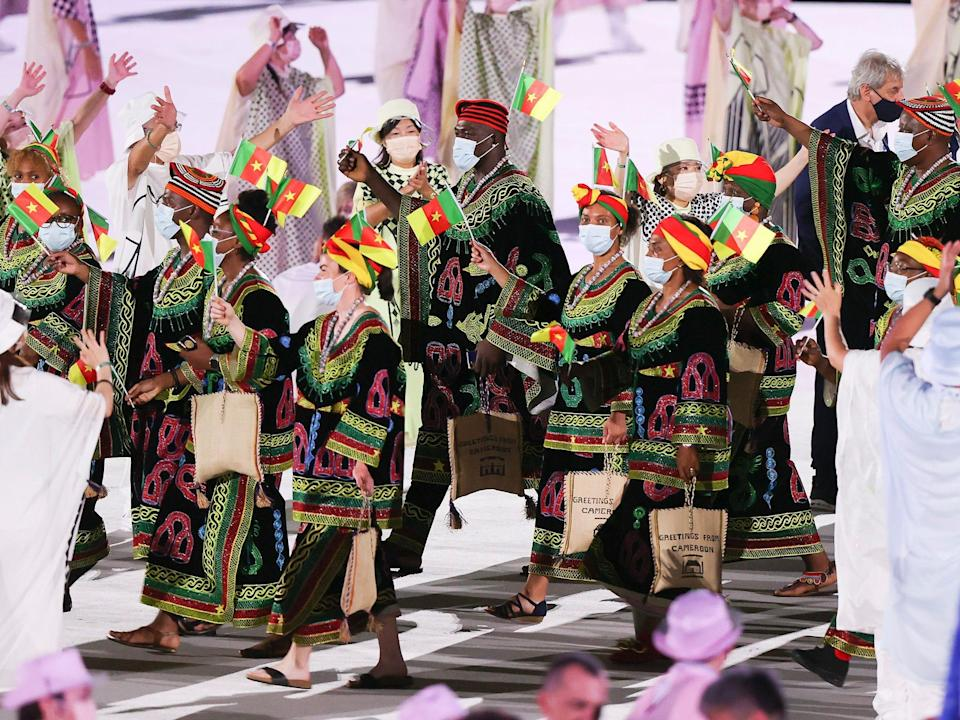 Athletes from Cameroon make their entrance at the Summer Olympics.
