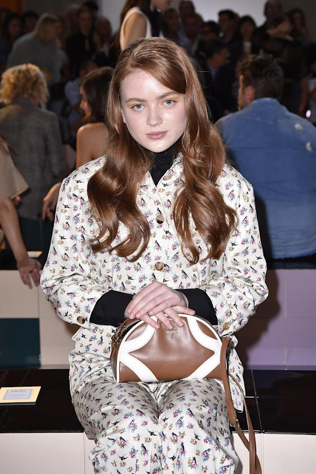 Sadie Sink attends Prada Spring/Summer 2020 Womenswear Fashion Show on September 18, 2019 in Milan, Italy. Photo courtesy of Getty Images.