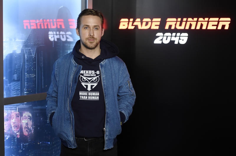 """Ryan Gosling, a cast member in the upcoming film """"Blade Runner 2049,"""" poses during a photo call backstage at the Sony Pictures Entertainment presentation at CinemaCon 2017 at Caesars Palace on Monday, March 27, 2017, in Las Vegas. (Photo by Chris Pizzello/Invision/AP)"""