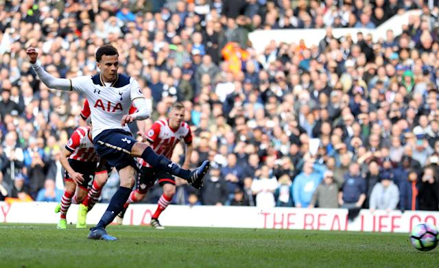 <p>Alli slots beyond Forster from the penalty spot </p>
