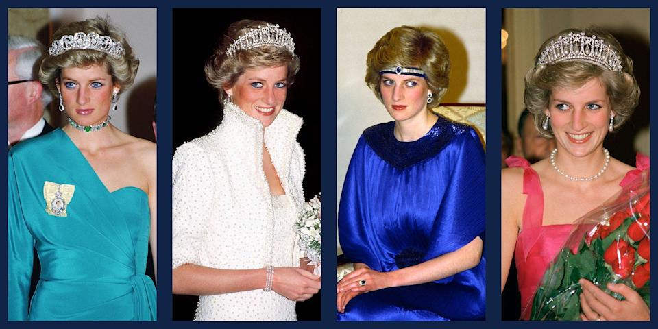 """<p>Everyone knows that Diana, Princess of Wales, was a <a href=""""https://www.townandcountrymag.com/style/fashion-trends/g22617779/princess-diana-fashion/"""" rel=""""nofollow noopener"""" target=""""_blank"""" data-ylk=""""slk:fashion icon"""" class=""""link rapid-noclick-resp"""">fashion icon</a>, and even inspired the style of future royals, like <a href=""""https://www.townandcountrymag.com/society/tradition/g25577889/kate-middleton-princess-diana-dressed-alike/"""" rel=""""nofollow noopener"""" target=""""_blank"""" data-ylk=""""slk:Kate Middleton"""" class=""""link rapid-noclick-resp"""">Kate Middleton</a> and <a href=""""https://www.townandcountrymag.com/style/jewelry-and-watches/g26363257/meghan-markle-princess-diana-jewelry/"""" rel=""""nofollow noopener"""" target=""""_blank"""" data-ylk=""""slk:Meghan Markle"""" class=""""link rapid-noclick-resp"""">Meghan Markle</a>. It helped that Diana had access to two of the most sought-after tiaras in the world—<a href=""""https://www.townandcountrymag.com/society/tradition/a10302981/cambridge-love-knot-tiara/"""" rel=""""nofollow noopener"""" target=""""_blank"""" data-ylk=""""slk:the Cambridge Lover's Knot"""" class=""""link rapid-noclick-resp"""">the Cambridge Lover's Knot</a> and <a href=""""https://www.townandcountrymag.com/the-scene/weddings/a21597975/celia-mccorquodale-wedding-princess-diana-spencer-tiara/"""" rel=""""nofollow noopener"""" target=""""_blank"""" data-ylk=""""slk:the Spencer tiara"""" class=""""link rapid-noclick-resp"""">the Spencer tiara</a>—and looked radiant each time she wore either. The Princess also took some risks with her accessories, even turning choker necklaces into elaborate headpieces. Here, <em>T&C</em> takes a look back at the late Diana's stunning tiara collection and her greatest formalwear moments. </p>"""
