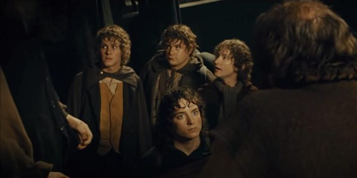 """The hobbits inside a bar in Bree in """"The Fellowship of the Ring."""" <p class=""""copyright"""">New Line Cinema</p>"""