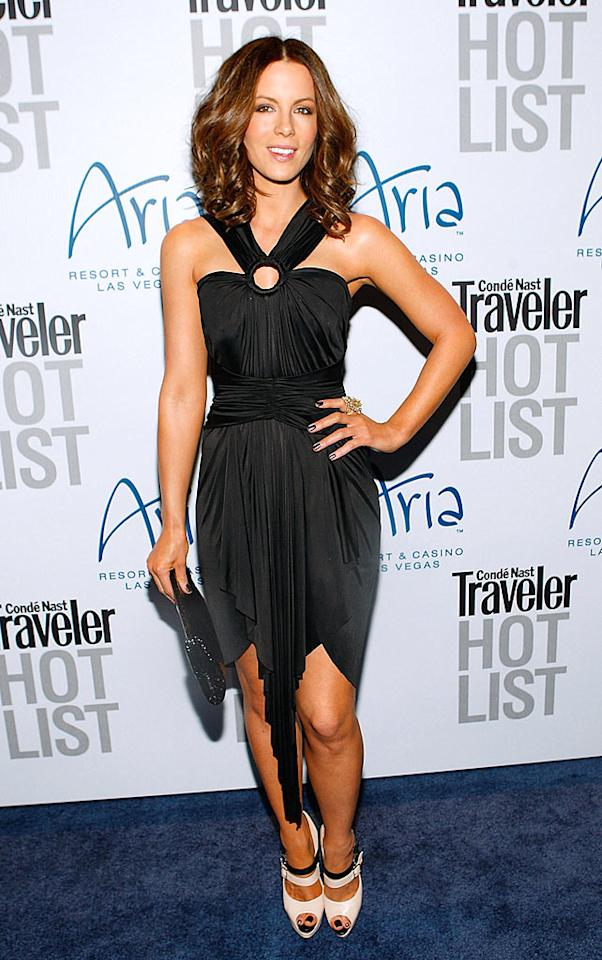 """As expected, Kate Beckinsale worked her magic on the carpet at the <i>Conde Nast Traveler</i> """"Hot List"""" fete in Las Vegas. The big screen beauty wore a draped Zac Posen piece, which highlighted her bronzed shoulders, a cocktail ring courtesy of Miriam Haskell, and $995 Christian Louboutin """"Luly"""" heels. Isaac Brekken/<a href=""""http://www.wireimage.com"""" target=""""new"""">WireImage.com</a> - April 10, 2010"""