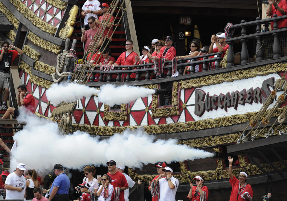 The pirate ship of the Tampa Bay Buccaneers celebrates a score with canon fire against the Atlanta Falcons at Raymond James Stadium on September 14, 2008 in Tampa, Florida.  (Photo by Al Messerschmidt/Getty Images)
