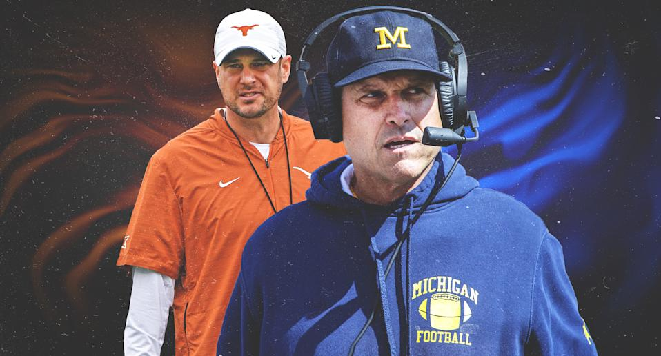 Texas' Tom Herman and Michigan's Jim Harbaugh are both likely facing the end of the line at their schools. (Yahoo Sports illustration)