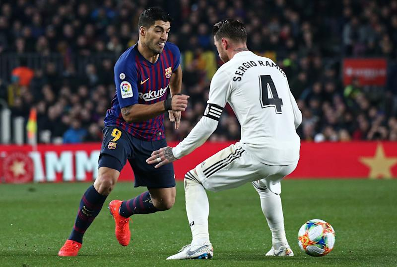 Luis Suarez and Sergio Ramos during the match between FC Barcelona and Real Madrid corresponding to the first leg of the 1/2 final of the spanish cup, played at the Camp Nou Stadium, on 06th February 2019, in Barcelona, Spain. -- (Photo by Urbanandsport/NurPhoto via Getty Images)