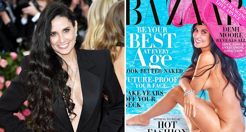 Demi Moore on the front of the October issue of US Harper's Bazaar. [Photo: Instagram/Harper's Bazaar]