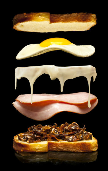 This undated illustration provided by Modernist Cuisine on July 16, 2013 shows Camembert cheese on a brioche with ham and mushrooms. (AP Photo/Modernist Cuisine, Chris Hoover)