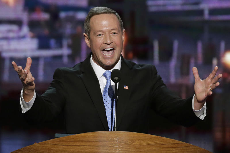 In this Sept. 4, 2012, photo, Maryland Gov. Martin O'Malley addresses the Democratic National Convention in Charlotte, N.C. President Barack Obama may face the voters in two months, but several Democrats are already laying the groundwork for a future White House run. Up-and-coming Democratic stars like O'Malley, Virginia Sen. Mark Warner, Booker and others are making the rounds before state delegations and at private events surrounding the Democratic National Convention in Charlotte.  (AP Photo/J. Scott Applewhite)