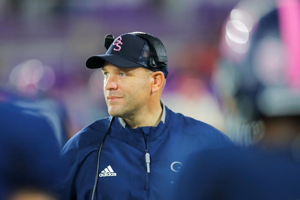 ORLANDO, FLORIDA - DECEMBER 21: Chad Lunsford, head coach of the Georgia Southern Eagles looks on during the fourth quarter of the 2019 Cure Bowl against the Liberty Flames at Exploria Stadium on December 21, 2019 in Orlando, Florida. (Photo by James Gilbert/Getty Images)