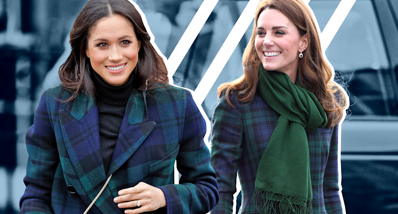 e890dd45a Kate Middleton and Meghan Markle twin in tartan coats