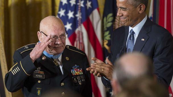 PHOTO: U.S. Army Command Sergeant Major Bennie Adkins salutes after being awarded the Medal of Honor by President Barack Obama during a ceremony at the White House in Washington, Sept. 15, 2014. (Jim Watson/AFP via Getty Images, FILE)