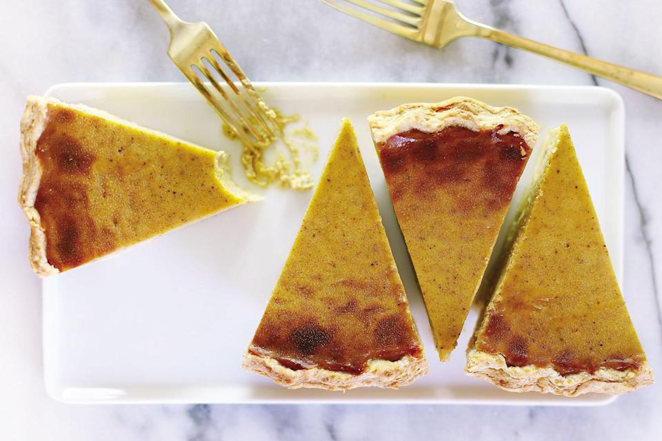 "This silky pie is so good, you'll probably want to eat it more often than once a year at Thanksgiving. <a href=""https://www.epicurious.com/recipes/food/views/vegan-pumpkin-pie-56390152?mbid=synd_yahoo_rss"" rel=""nofollow noopener"" target=""_blank"" data-ylk=""slk:See recipe."" class=""link rapid-noclick-resp"">See recipe.</a>"