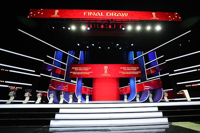 The stage is set – literally – for the 2018 World Cup Draw. (Getty)