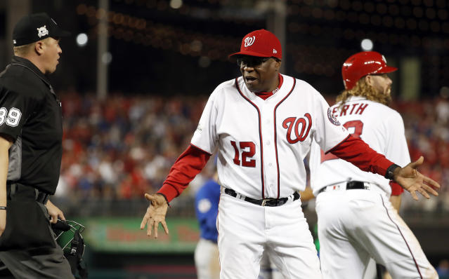 Dusty Baker will get the blame if the Nationals suffer another early postseason exit. (AP Photo/Alex Brandon)