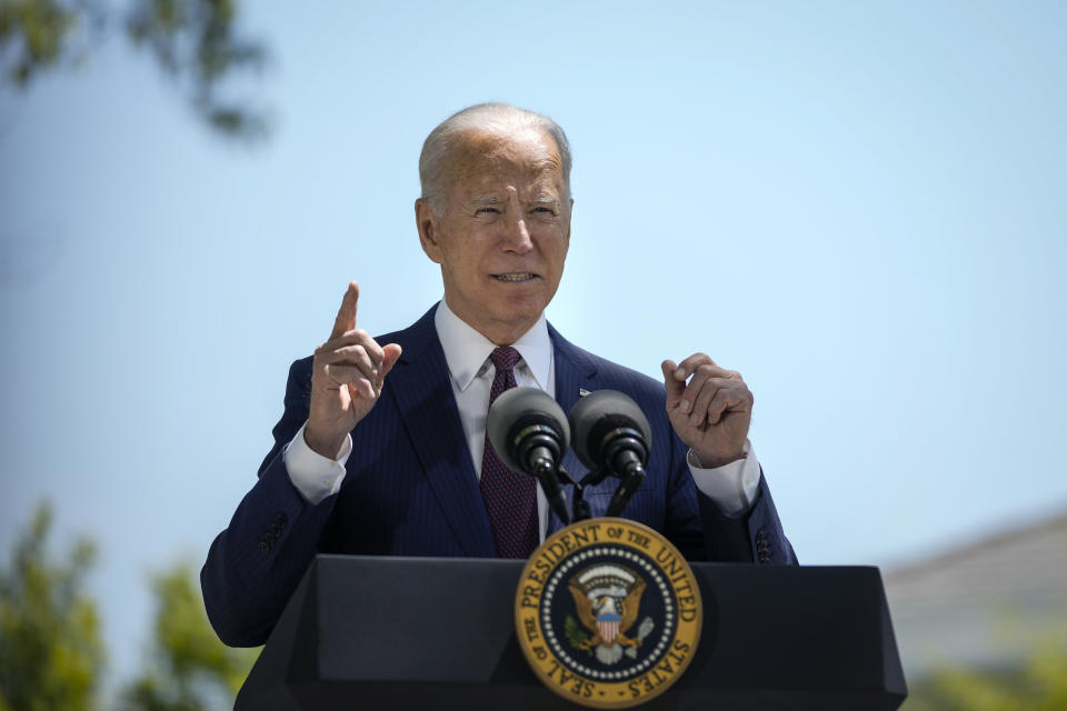 WASHINGTON, DC - APRIL 27: U.S. President Joe Biden speaks about updated CDC mask guidance on the North Lawn of the White House on April 27, 2021 in Washington, DC. President Biden announced updated CDC guidance, saying vaccinated Americans do not need to wear a mask outside when in small groups.  (Photo by Drew Angerer/Getty Images)