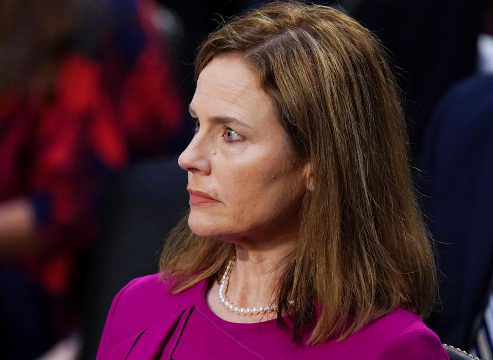 U.S. Supreme Court nominee Amy Coney Barrett  attends her confirmation hearing before the Senate Judiciary Committee on Capitol Hill in Washington, D.C., U.S., October 12, 2020. (Kevin Dietsch/Pool via Reurters)
