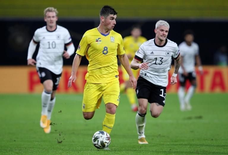 Atalanta midfielder Ruslan Malinovskyi (C) was among six Ukraine players to test positive for Covid-19 ahead of their Nations League game against Switzerland