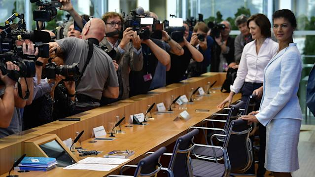 <p>Sahra Wagenknecht of the far-left Die Linke party arrives for a press conference on the new left-wing cross-party political grouping 'Stand up' (Aufstehen) in Berlin on September 4, 2018. – A German far-left politician will launch on September 4, 2018 a cross-party movement called 'Stand up', modelled on the populist campaigns of US Senator Bernie Sanders and Britain's Labour leader Jeremy Corbyn. (Photo by TOBIAS SCHWARZ/AFP/Getty Images) </p>