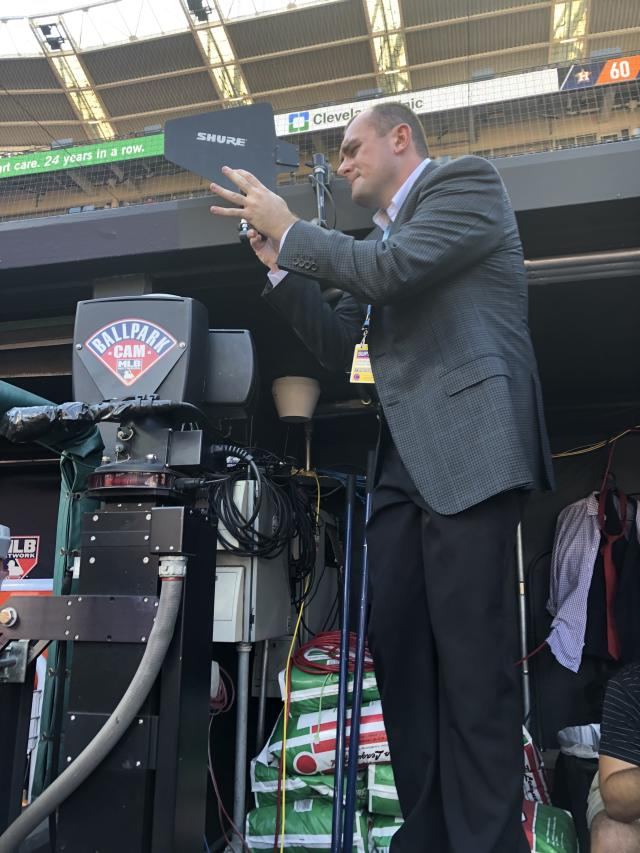 "Kyle McLaughlin aiming a cell phone into Cleveland's dugout during the <a class=""link rapid-noclick-resp"" href=""/mlb/teams/cle"" data-ylk=""slk:Indians"">Indians</a>' 11-3 ALDS loss that ended their season."