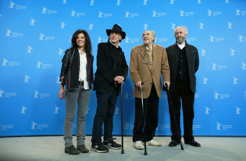From left, composer Florencia di Concilio, cinematographer Edward Lachman, director and producer George Sluizer and actor Jonathan Pryce pose at the photo call for the film Dark Blood at the 63rd edition of the Berlinale, International Film Festival in Berlin, Thursday, Feb. 14, 2013. (AP Photo/Gero Breloer)