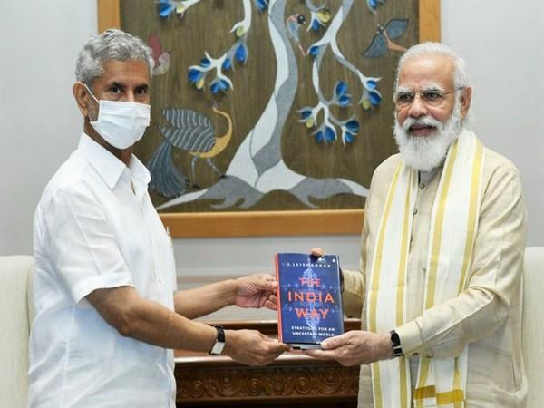 EAM S Jaishankar presented the first copy of his book to Prime Minister Narendra Modi (Picture tweeted by EAM)