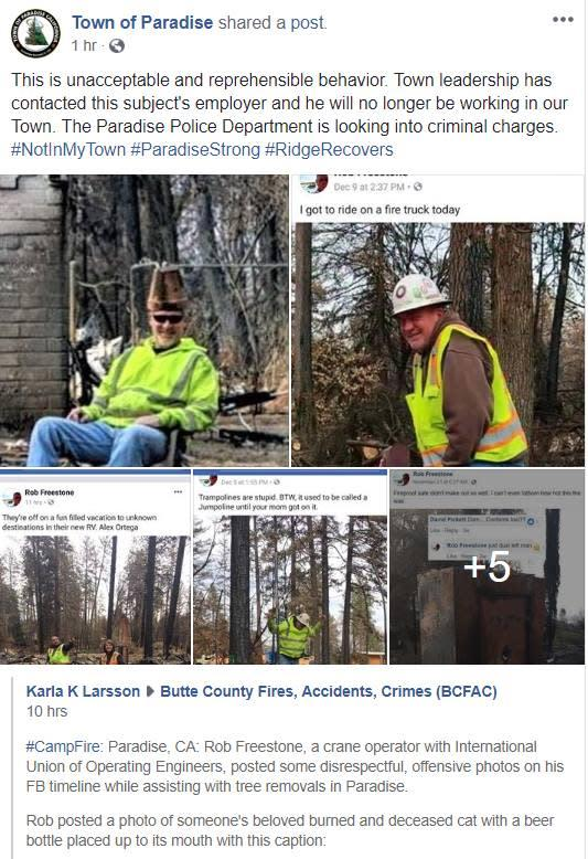 Rob Freestone appears to have posted several Facebook photos from Camp Fire cleanup sites that drew outrage from social media users.