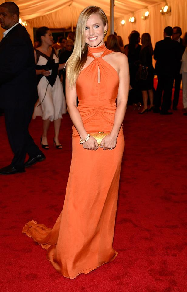 Kristen Bell attends the 2012 Costume Institue Gala at the Metropolitan Museum of Art in New York City, NY on May 8, 2012.
