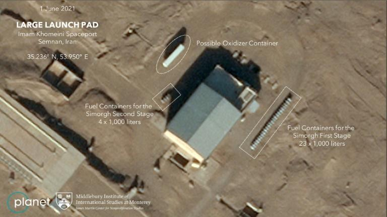 A satellite photo of Iran's Semnan Space Center taken on June 19-20 by Planet Labs