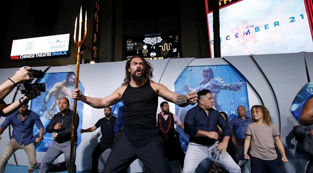 Making a splash: Jason Momoa performing the haka (Reuters)
