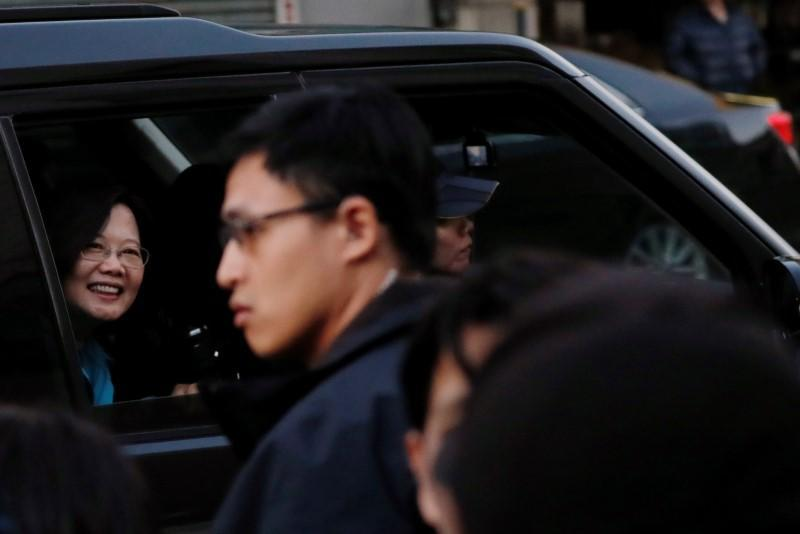 Taiwan President Tsai Ing-wen is seen inside a vehicle after a campaign event in Taoyuan