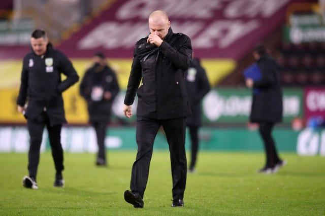 Burnley manager Sean Dyche appears dejected after the match